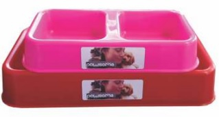 PAWSOME PLASTIC DOUBLE DINER SMALL 250ML ASSTD.