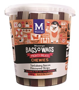 BAGS O' WAGS TANTALISING BACON CHEWIES 500G