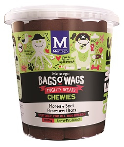 BAGS O' WAGS MOREISH BEEFY CHEWIES 500G