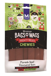 BAGS O' WAGS MOREISH BEEFY CHEWIES 120G