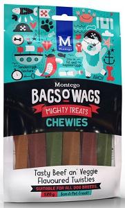 BAGS O' WAGS TASTY BEEF AN' VEGGIE CHEWIES 120G
