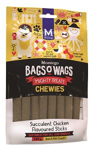 BAGS O' WAGS CHICKEN STICK CHEWIES 120G