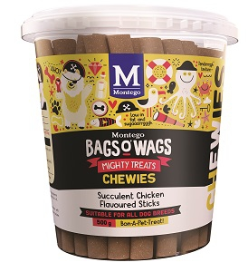 BAGS O' WAGS CHICKEN STICK CHEWIES 500G