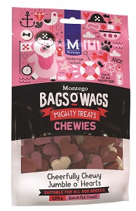 BAGS O' WAGS CHEWY JUMBLE O' HEARTS MIX 120G