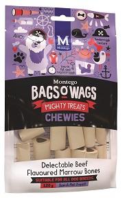 BAGS O' WAGS BEEF MARROW BONES CHEWIES 120G