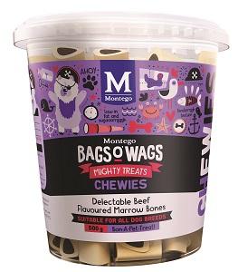 BAGS O' WAGS BEEF MARROW BONES CHEWIES 500G