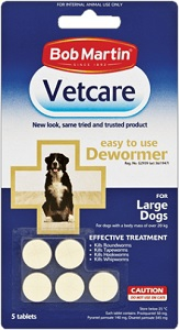 VETCARE DEWORMING LARGE ADULT TABLETS 5PK