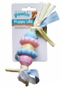 PAWISE PUPPY LIFE TEETHING TOY W/ROPE 15CM