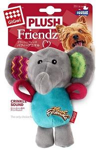 GIGWI PLUSH FRIENDZ SQUEAKY ELEPHANT 16CM