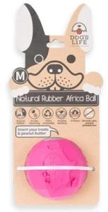 DOG'S LIFE NATURAL RUBBER BALL PINK MEDIUM 7CM