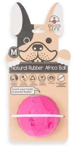 DOG'S LIFE NATURAL RUBBER BALL PINK LARGE 9.8CM