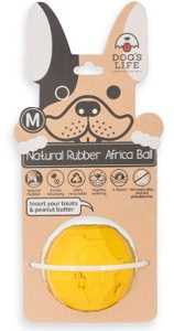 DOG'S LIFE NATURAL RUBBER BALL YELLOW SMALL 5.4CM