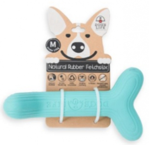 DOG'S LIFE NATURAL RUBBER FETCHSTIX TURQ LARGE