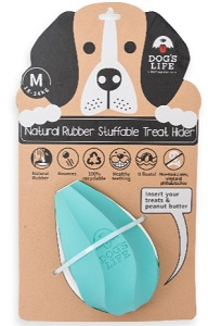 DOG'S LIFE NATURAL RUBBER TREAT HOLDER TURQ SMALL