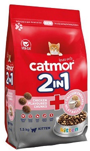 CATMOR KITTEN 2-IN-1 CHICKEN & MILKY BALLS 1.5KG