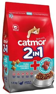 CATMOR ADULT 2-IN-1 TUNA & PRAWN BITES 1.5KG