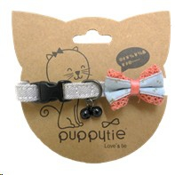 PUPPYTIE LIGHT BLUE & PINK LACE WITH BELL SMALL