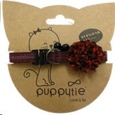 PUPPYTIE RED & WHITE WITH ROSETTE & BELL SMALL