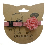 PUPPYTIE PINK WITH ROSETTE & BELL SMALL