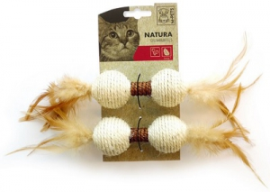 M-PETS NATURA DUMBBELLS WITH CATNIP & FEATHERS 2PK