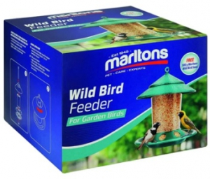 MARLTONS WILD BIRD FEEDER & 500G SEED 18X18X13CM