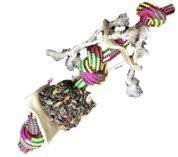 POLLY'S CHOICE ROPE, RAWHIDE &  SEED BELL 45X10CM