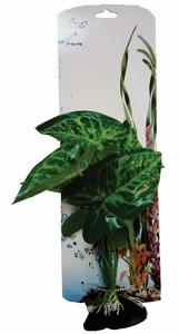 AKWA MOTTLED GREEN-LEAF PLASTIC PLANT 21CM