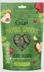 BURGESS EXCEL NATURE SNACKS HERBY HEARTS 60G